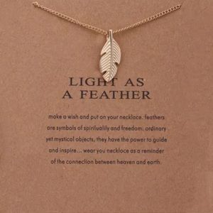 Dainty gold light as a feather necklace